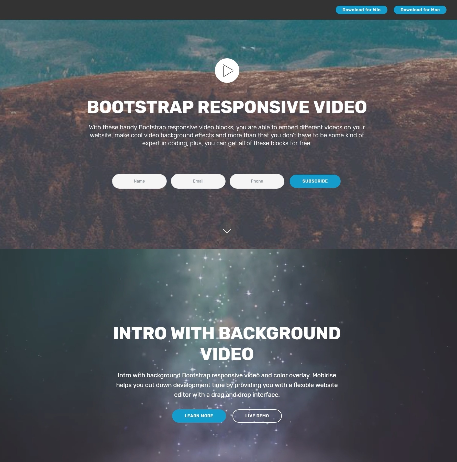 Innovative HTML Bootstrap Carousel Video Players and Mega Menu Templates
